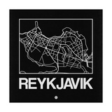 Black Map of Reykjavik Print by  NaxArt