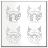 Owl with Glasses Four Print DIY Coloring Wall Plaque Wood Sign