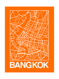 Orange Map of Bangkok Print by  NaxArt