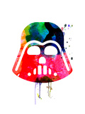Darth V Helmet Cartoon Watercolor Posters by Lora Feldman