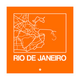 Orange Map of Rio De Janeiro Posters by  NaxArt