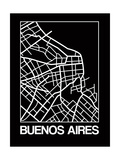 Black Map of Buenos Aires Posters by  NaxArt