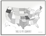 Quilted USA Map DIY Coloring Wall Plaque Wood Sign