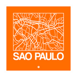 Orange Map of Sao Paulo Prints by  NaxArt