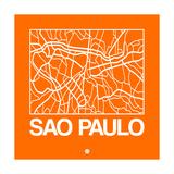 Orange Map of Sao Paulo Prints by  NaxArt