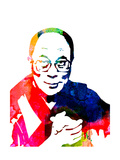 Dalai Lama Watercolor Prints by Lora Feldman