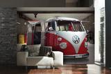 VW Red Camper Wall Mural Vægplakat i tapetform