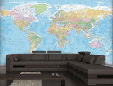 Blue Map Mural Wallpaper Mural