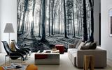 Black and White Forest Mural - Duvar Resimleri