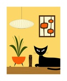 Cat on Tabletop with Mini Mod Pods Photographic Print by Donna Mibus