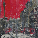 Snow Storm Towards Trafalgar Square Giclee Print by Susan Brown