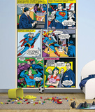 Superman Comic Panels Wall Mural Vægplakat i tapetform