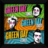 Green Day - Uno Dos Tre Framed Album Art Collector-tryk