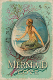 Vintage Mermaid Cove Sign Plaque en métal
