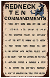 Redneck Ten Commandments Sign Plaque en métal