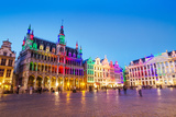 Grand Place in Brussels with Colorful Lighting Photographic Print by  siraanamwong
