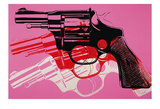 Gun, c. 1981-82 (black, white, red on pink) Prints by Andy Warhol