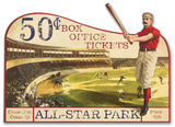 Vintage Advertising Baseball Die Cut Wood Sign