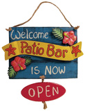 Open Closed Patio Bar Sign Wood Sign