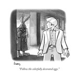 """""""Follow the colorfully decorated eggs."""" - New Yorker Cartoon Premium Giclee Print by Benjamin Schwartz"""