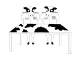 Two cows in military dress looking at a map table with a cow-design. - New Yorker Cartoon Premium Giclee Print by Seth Fleishman