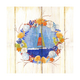 Coastal Sailboat Wreath Print by Mary Escobedo