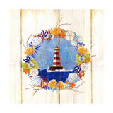 Coastal Lighthouse Wreath Prints by Mary Escobedo