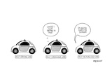 Three google cars, the self-driving, the self-conscious, the self-actualiz - New Yorker Cartoon Premium Giclee Print by Amy Kurzweil