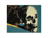Andy Warhol - Skull, 1976 (yellow on teal) Obrazy