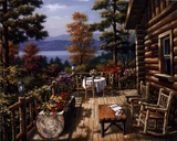 Log Cabin Porch Prints by Sung Kim