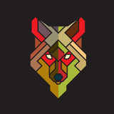 Abstract Wolf Graphic with Colorful Geometric Pattern, Vector Posters by  Jumpeestudio