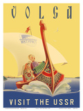 Volga - Visit the USSR - Russian River Cruise Poster by  Pacifica Island Art