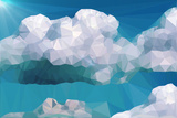 Clouds and Mountains Polygon Style Art by  riccamal