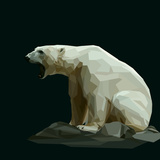 White Polar Bear Sit on Rock and Roars Art by  mid92