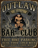 Outlaw Bar And Club Tin Sign