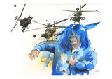 Girl and Helicopters Prints by Lora Zombie