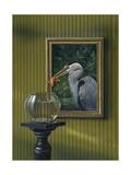 Heron and Goldfish Art by Harro Maass
