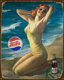 Pepsi Girl Tin Sign