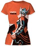 Juniors: Marvel: Michael Cho- Mighty Thor Big Print T-shirts