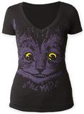 Juniors: Alice In Wonderland Mad Cat V-Neck Koszulki
