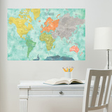 Aquarelle World Map Wall Decal ウォールステッカー