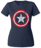 Juniors: Captain America- Distressed Shield Shirts