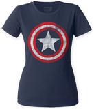 Juniors: Captain America- Distressed Shield T-Shirt