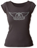 Juniors: Aerosmith- Logo Scoop Neck Bluser