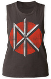 Womans: Dead Kennedys- Distressed Red Logo Tank T-skjorter