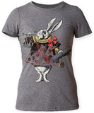 Juniors: Alice In Wonderland- White Rabbit With Trumpet T-shirts