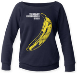 Juniors Scoop Crewneck: Velvet Underground- Distressed Banana Sticker Shirt