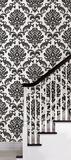 Black Damask Peel & Stick Wallpaper Papier peint autocollant