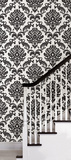 Black Damask Peel & Stick Wallpaper Wall Decal