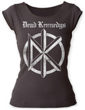 Juniors: Dead Kennedys- Distressed Black & White Logo Scoop Neck T-Shirt
